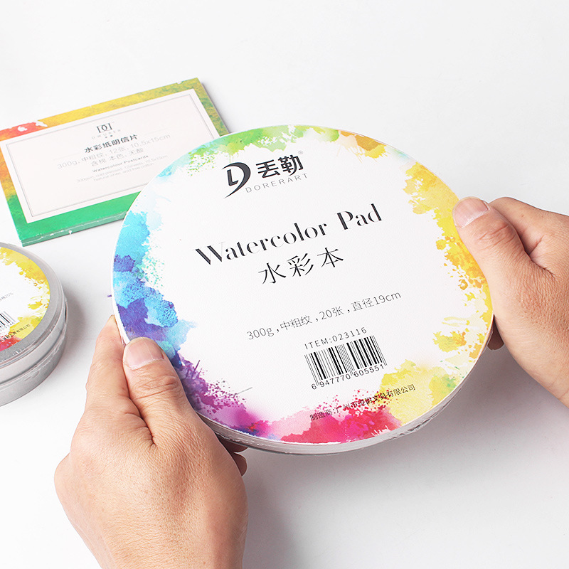 DORERART 300g Round Watercolor Paper Pad Aquarelle Drawing Paper For Art Supplies Portable Watercolor Cotton Paper Cards