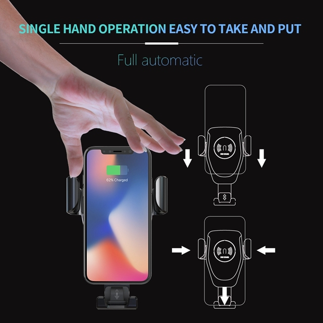 FDGAO 15W 10W Qi Car Wireless Charger Fast Charging Smart Phone Holder Mount for IPhone 11 Pro XS Max Xr X 8 Samsung S9 S10 S8 1