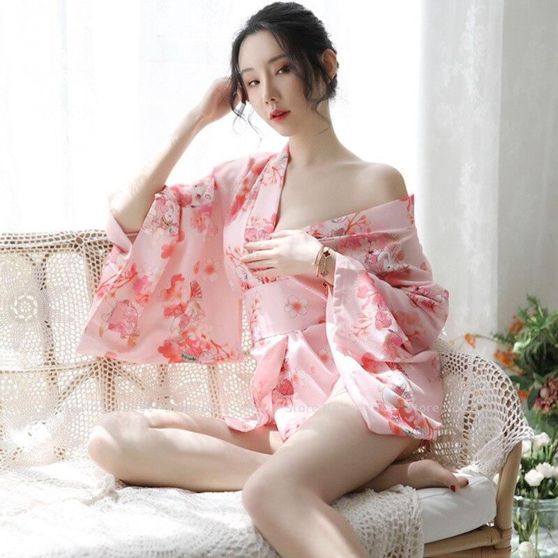 Japanese Style Yukata Bath Robe Girl Kimono Sakura Floral Print Dress Women Haori Coats Japan Uniform Party Gown Cosplay Costume