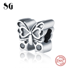SG 925 silver beads lovely butterfly charms with CZ Fit original pandora bracelets jewelry accessories making for women gifts