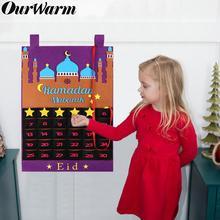 OurWarm Eid Mubarak Calendario de ramadán de fieltro, bricolaje, con bolsillo, regalos para niños, calendario de cuenta regresiva, Balram musulmán, adornos fiestas
