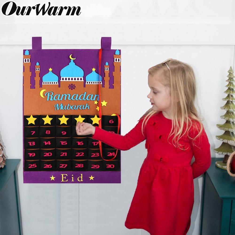 OurWarm Eid Mubarak DIY Felt Ramadan Calendar With Pocket For Kids Gifts Countdown Calendar Muslim Balram Party Decor Supplies