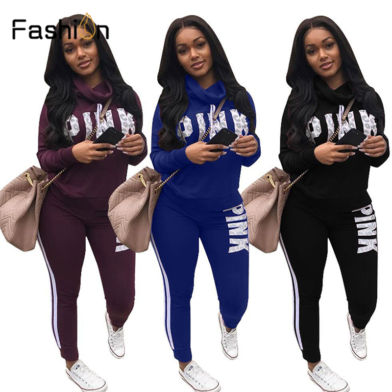 Plus Size 2019 New PINK Letter Print Two Piece Set Sportswear Tracksuit Women High Neck Conjunto Feminino Sweatshirt Set Outfits
