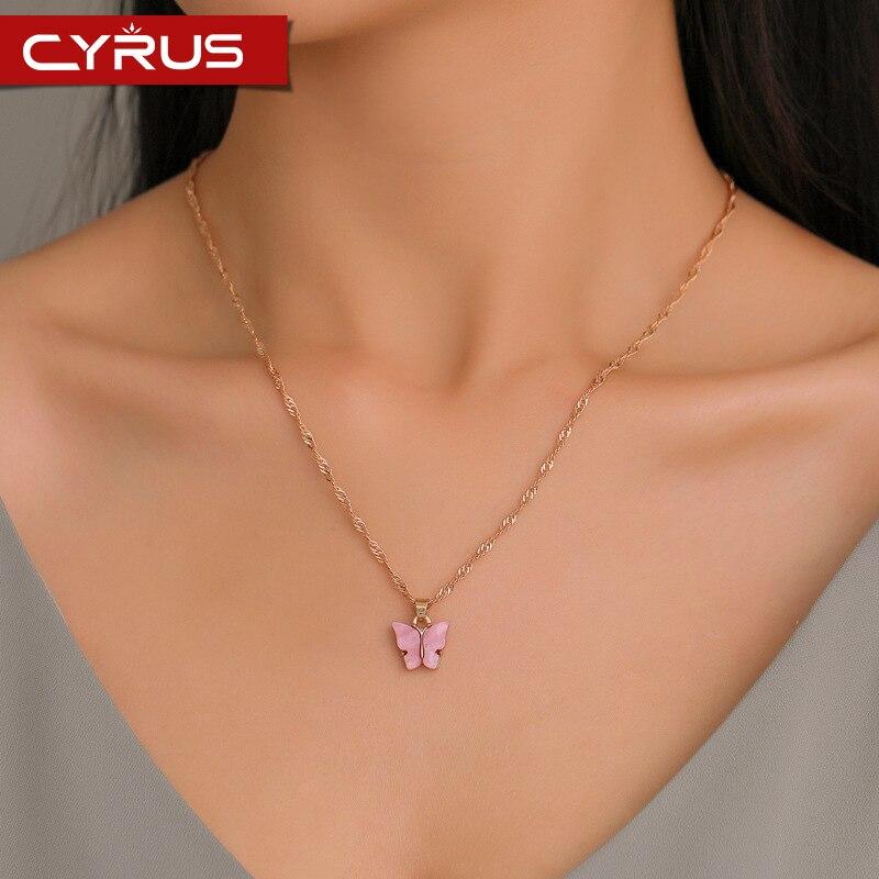 Милое акриловое цветное ожерелье с бабочкой для женщин, длинная цепочка для ключицы, кулон, изысканный стильный подарок Mujer 2020, Трендовое золото Ожерелья с подвеской      АлиЭкспресс