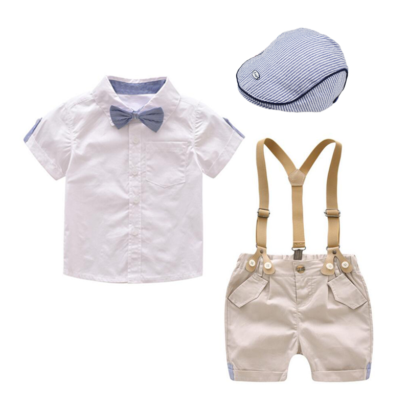 Toddler Boys Hat Clothing Kids Clothes Summer Short Suit Shorts Children Shirt With Collar Wedding Party Costume 1-4 Years