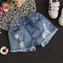 Girls Denim Shorts 2021 Summer Fashion Hole Stylish Cosume Pants Casual Children Jeans Shorts Pants For 2-10 years Old Kids