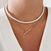 EN Punk – collier chaîne EN or pour femmes, pendentif avec nœud EN perles, multicouche, ras du cou, bijoux cadeaux de mariage, 2020