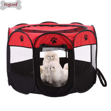 Pet Cat Dog Portable Foldable Cage Exercise Delivery Room Play Tent Mesh Cover Indoor/Outdoor Use Red Fence Outdoor Supplies customized size luxury blackout 3d window curtains for living room animal curtains kids curtain