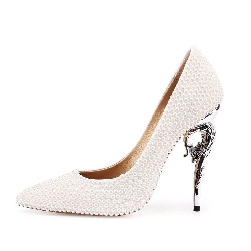 Bianco Perla Donne Pompe Strano Tacco A Spillo 11 centimetri Tacchi Pattini di Vestito Da Sposa scarpe A Punta Da Sposa Su Misura Bella tacchi Alti - 3