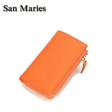 San Maries Luxury Key Holder Wallet 100 Genuine Leather Unisex Solid Key Wallet Multi Function Key Case With Key Rings Wallet cheap Cow Leather 12 5cm Key Wallets 9121DN Casual European and American Style