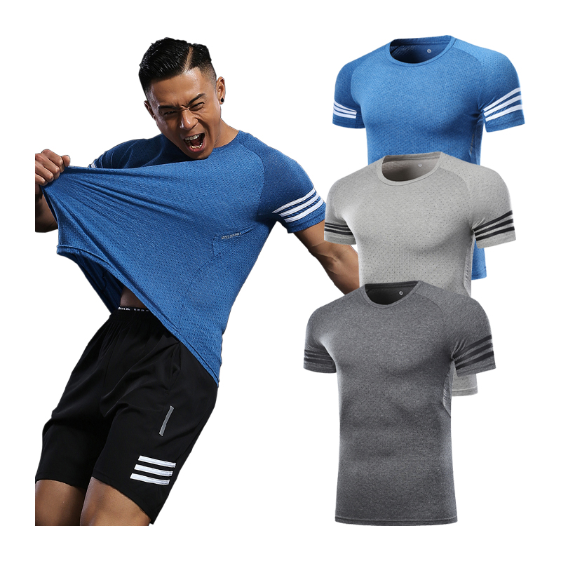 Training Running T-shirt Men Spandex Short Sleeve Quick Drying Fitness Sports Top Football Basketball Men Tennis Shirt