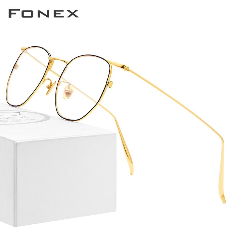 FONEX Pure B Titanium Glasses Frame Women Ultralight Polygon Prescription Eyeglasses Men Spectacles Myopia Optical Eyewear 885