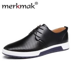 Merkmak novo 2019 homens sapatos casuais de couro verão buracos respiráveis de luxo marca plana sapatos para o transporte da gota