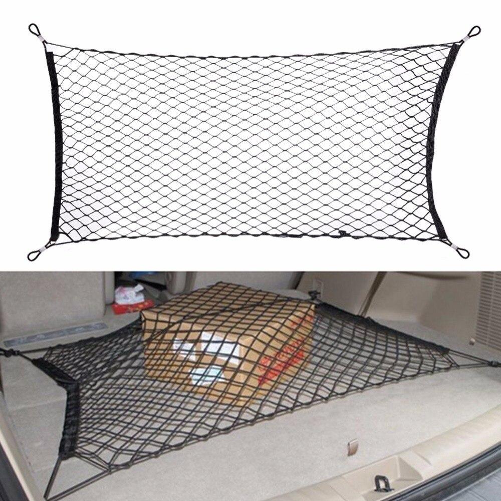 90/120*60cm carro-estilo boot string malha elástica náilon traseiro voltar carga tronco organizador de armazenamento de bagagem net titular acessório automático