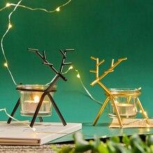 Candle Holder Deer Shape Glass Vintage Metal Europe Style Candlestick Fine Transparent Crystal Dining Home Decor Gifts