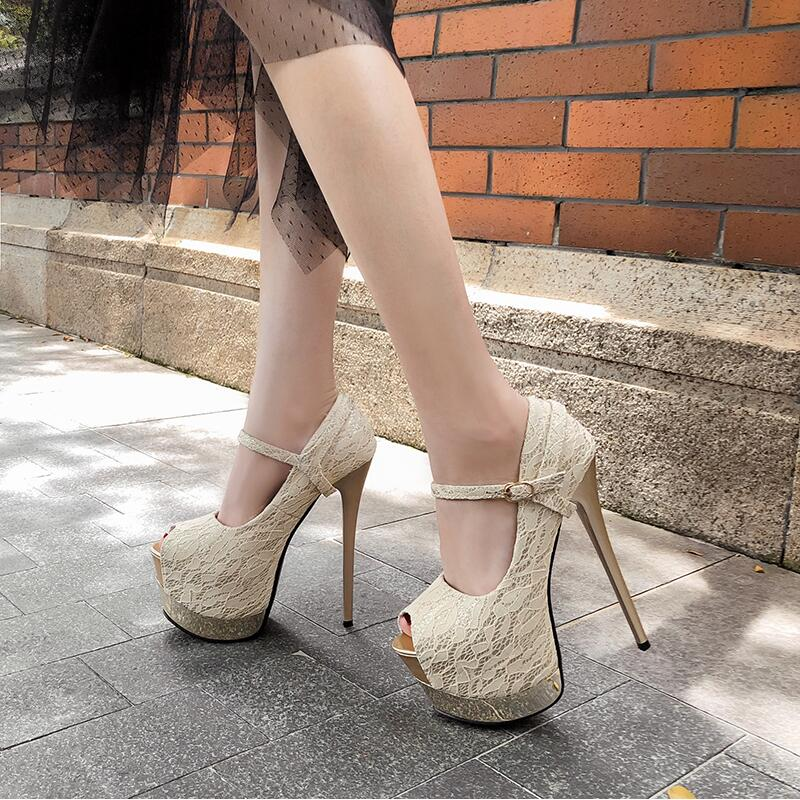 2019 New <font><b>Sexy</b></font> Lace Party Shoes Women Platform Pumps Buckle Peep Toe <font><b>High</b></font> <font><b>Heels</b></font> Two Wearings Autumn Shoes <font><b>17cm</b></font> Thin <font><b>Heel</b></font> Black image