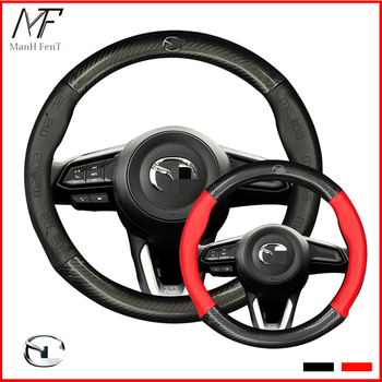ManH FenT Carbon Fiber Cow Leather Car Steering Wheel Cover For Mazda 2 3 5 6 7 8 CX3  CX5 CX7 CX98 CX9 MX5 MX7 RF Version dsg carbon fiber steering wheel shift gear paddle extension shifter extended fit for mazda 3 6 cx3 cx4 cx5 mx5 accessories