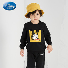 Disney Childrens Knitted Round Collar Set 2019 Long-sleeved Pants Two-piece Suit Kids Clothes Boys Mickey