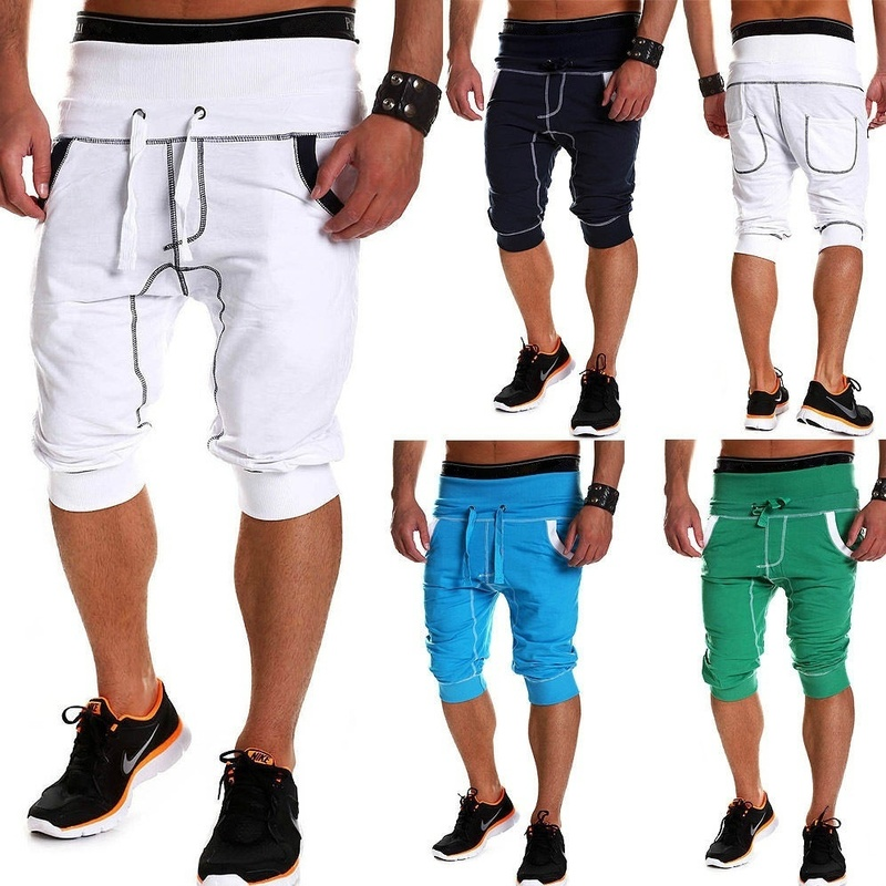 ZOGAA Summer Men Casual Shorts Knee-length Sweatpants Solid Skinny Drawstring Shorts With Pockets Male Fitness Sports Shorts