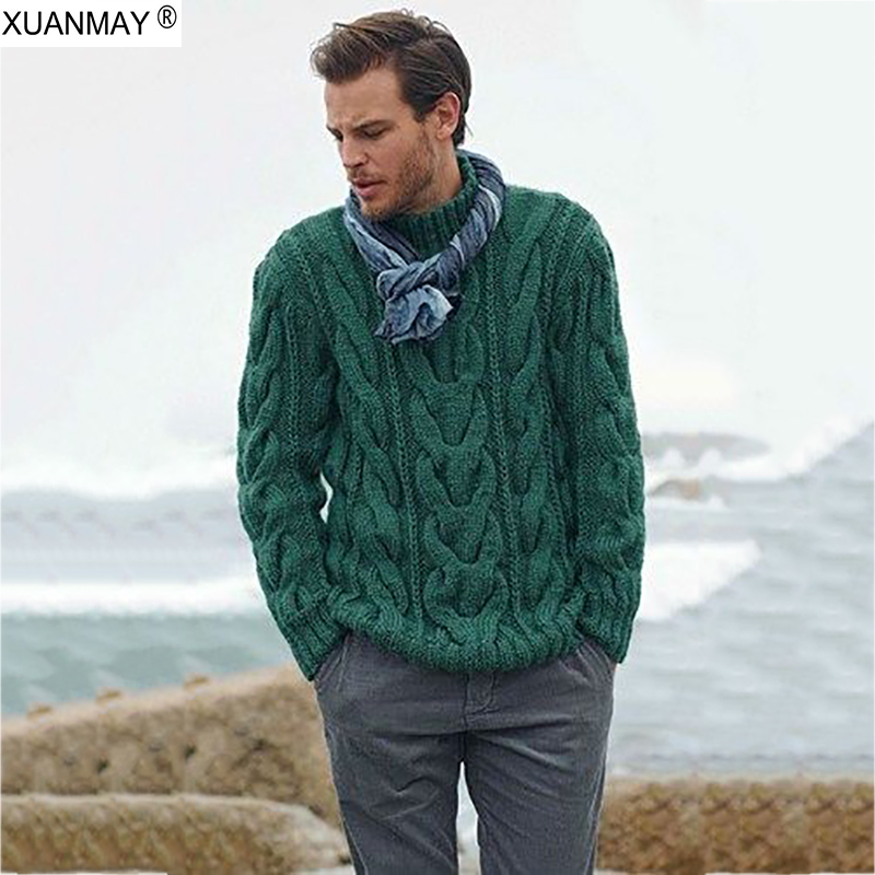2019  Winter Men's Pullover Sweater Casual Soft And Comfortable Pullover Sweater Coat Thick Warm Hand-knitted Cool Men's Sweater