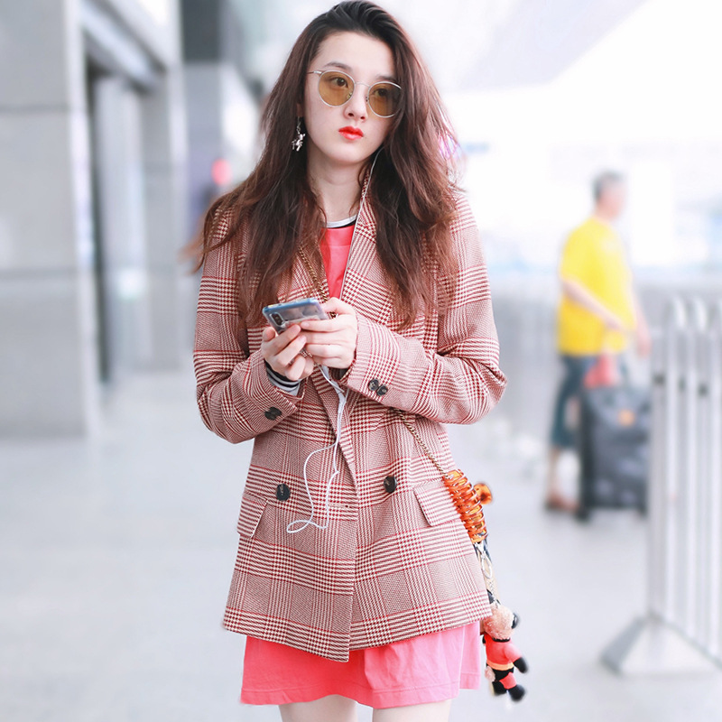 Autumn2019 The Autumn New Suit of Same Color Pink Grainy A Thousand Birds Women