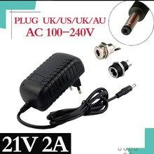 21V 2A 18650 리튬 배터리 충전기 18V 리튬 배터리 충전기 5.5mm x 2.1mm DC 전원 잭 소켓 암 패널 마운트 커넥터