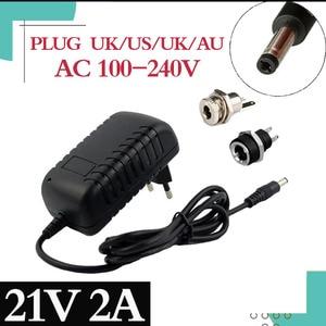 Image 1 - 21V 2A 18650 Lithium Batterie Ladegerät 18V lithium batterie Ladegerät 5,5mm x 2,1mm DC Power Jack buchse Weibliche Panel Mount anschluss