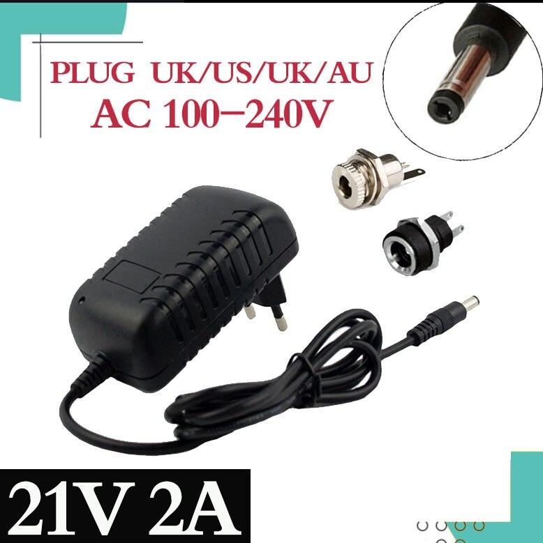 Зарядное устройство для литиевых аккумуляторов 21 в, 2 А, 18650, 18 в, зарядное устройство для литиевых аккумуляторов 5,5 мм x 2,1 мм, разъем питания п...