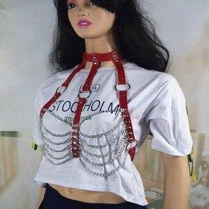 Image 4 - Accessoires col ceinture ventre corps tenue jupe harnais chaîne taille Punk plage été cuir