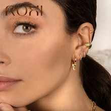 Roxi Luxe Cross Ster Maan Kristal Hoepel Oorbellen Voor Vrouwen Meisjes Zes Zircons Stone 925 Sterling Silver Drop Kraakbeen Earring