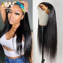 26 28 дюймов, прямые 100% человеческие волосы, головная повязка, искусственные волосы без выщипывания, парики для черных женщин, без клея, бразил...