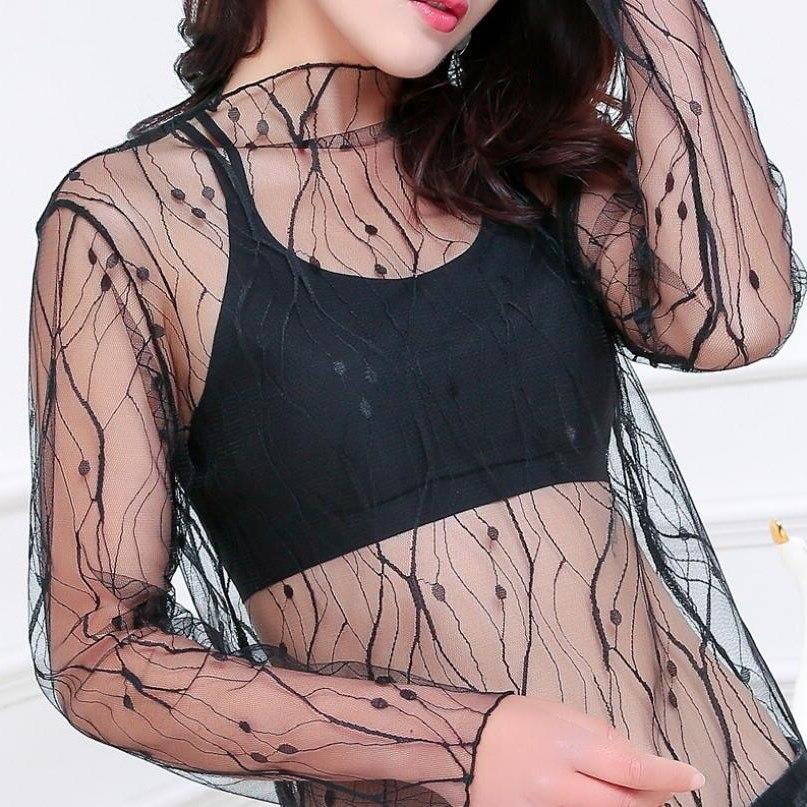 LJCUIYAO Transparent Shirt Sexy Women Blouses See Through Mesh Stand Neck Long Sleeve Sheer Blouse Shirt Ladies Tops Plus Size