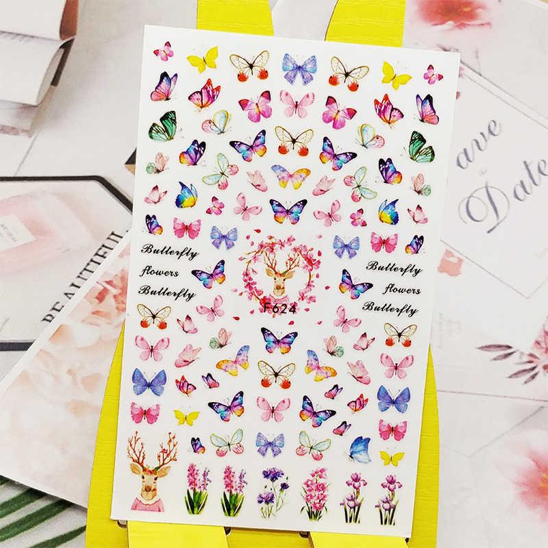 3D çıkartmalar çivi için taze çiçekler kelebek tasarımlar Nail Art süslemeleri folyo çıkartmaları sarar manikür aksesuarları Decoraciones
