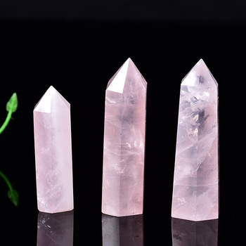 1PCs Natural Rock Pink Rose Quartz Crystal Wand Point Healing Mineral Stone Collection DIY Home Decor Hexagonal Treatment Stones image
