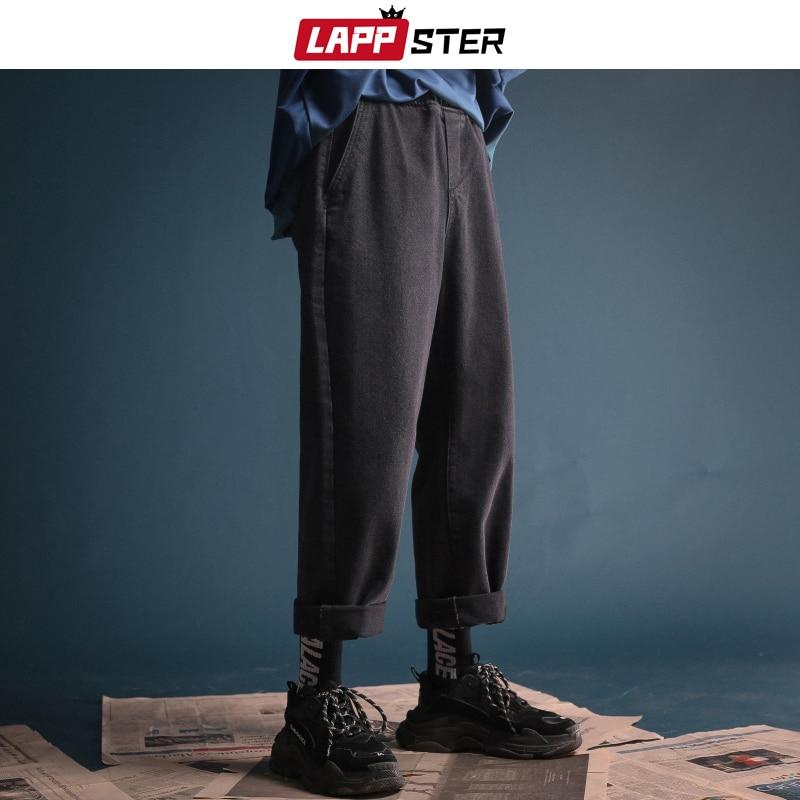 LAPPSTER Men Korean Fashions Streetwear Jeans 2019 Hip Hop Vintage Straight Harem Pants Blue Punk Denim Designer Clothing 2XL