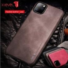Dla iPhone 11 Pro Max 2019 Case Luxury Vintage skórzany pokrowiec na iPhone 11 Pro 6.1 Back Case brązowy x level