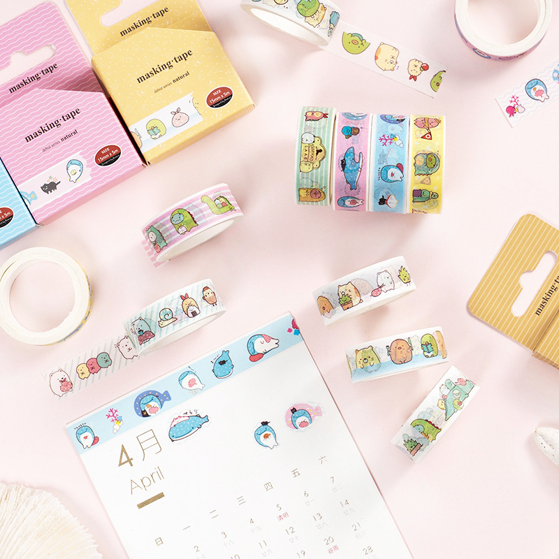 Kawaii Cartoon Sumikko Gurashi Whale Bullet Journal Washi Tape Adhesive Tape DIY Scrapbooking Sticker Label Masking Tape