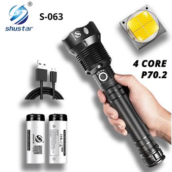 Potężna latarka LED z XHP 70 2 koralik świetlny Zoomable 3 tryby oświetlenia latarka LED wsparcie dla Mircro ładowanie latarka myśliwska tanie i dobre opinie shustar CN (pochodzenie) Odporny na wstrząsy Samoobrona Twarde Światło Regulowany S-063 200-500 m 2-4 plików 25W 35W