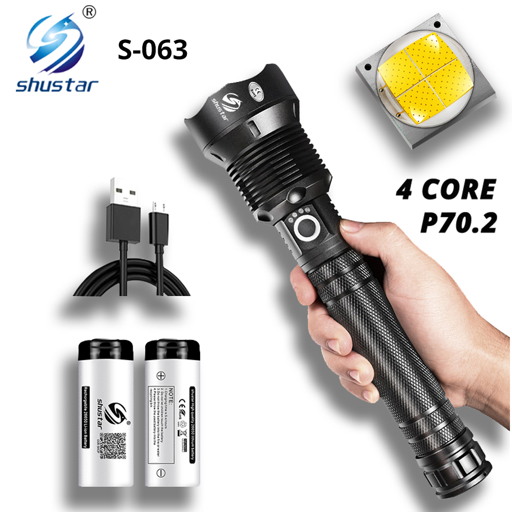 Powerful LED Flashlight With XHP 70 2 Lamp bead Zoomable 3 lighting modes LED Torch Support for Mircro charging hunting lamp