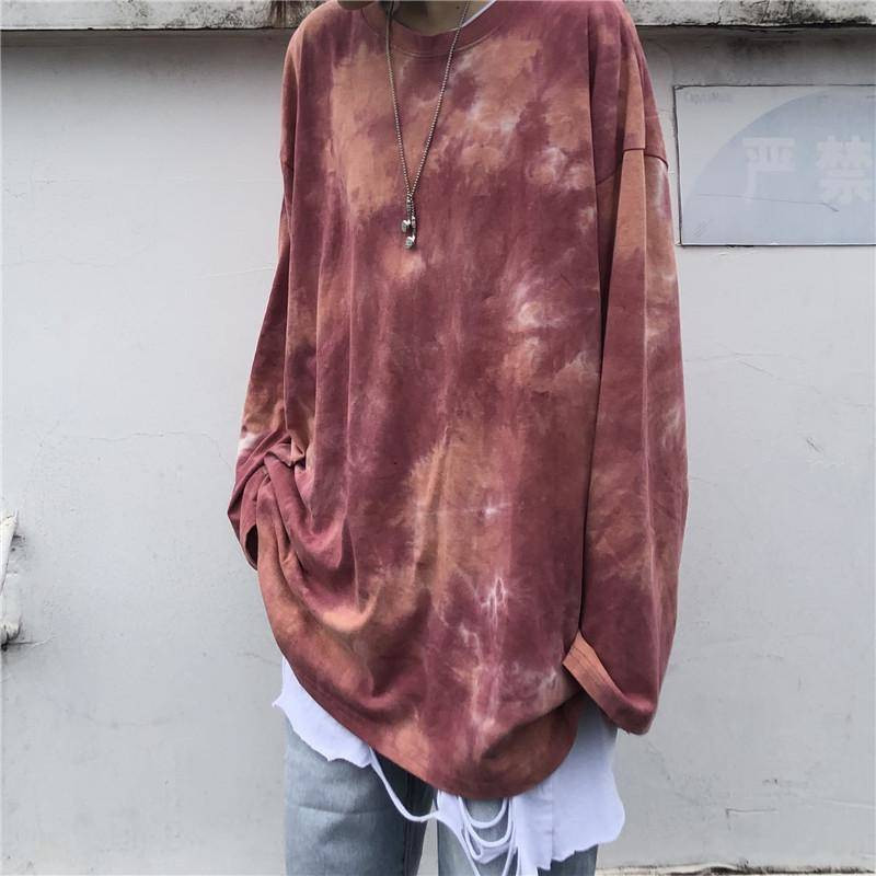 Tie Dyeing Hip Hop T-<font><b>shirt</b></font> <font><b>Men</b></font> Women Autumn Round Neck <font><b>Men's</b></font> Tshirts Casual <font><b>Oversized</b></font> Tee <font><b>Shirts</b></font> Cool <font><b>Korean</b></font> <font><b>Style</b></font> Tops Tee Male image