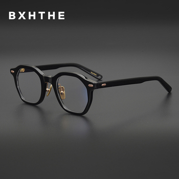 Korea Luxury Acetate Optical Eyeglasses Frame Men Retro Vintage Square Myopia Prescription Glasses Frame Women Male New Eyewear acetate glasses frame men square prescription eyeglasses new women male nerd myopia optical clear spectacles eyewear fonex