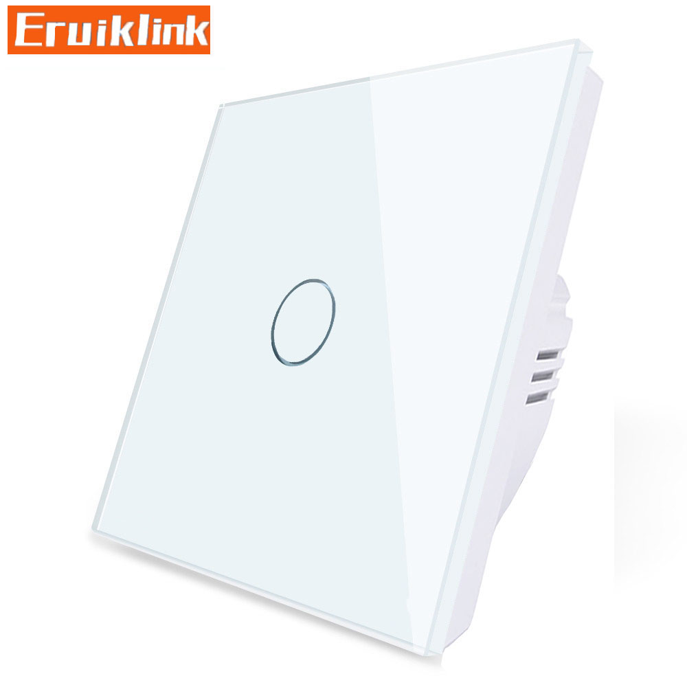 Купить с кэшбэком EU/UK Standard Wall Switch,1/2/3 Gang 1 Way Crystal Glass AC110V~220V Light Touch Switch Can't be remote controlled
