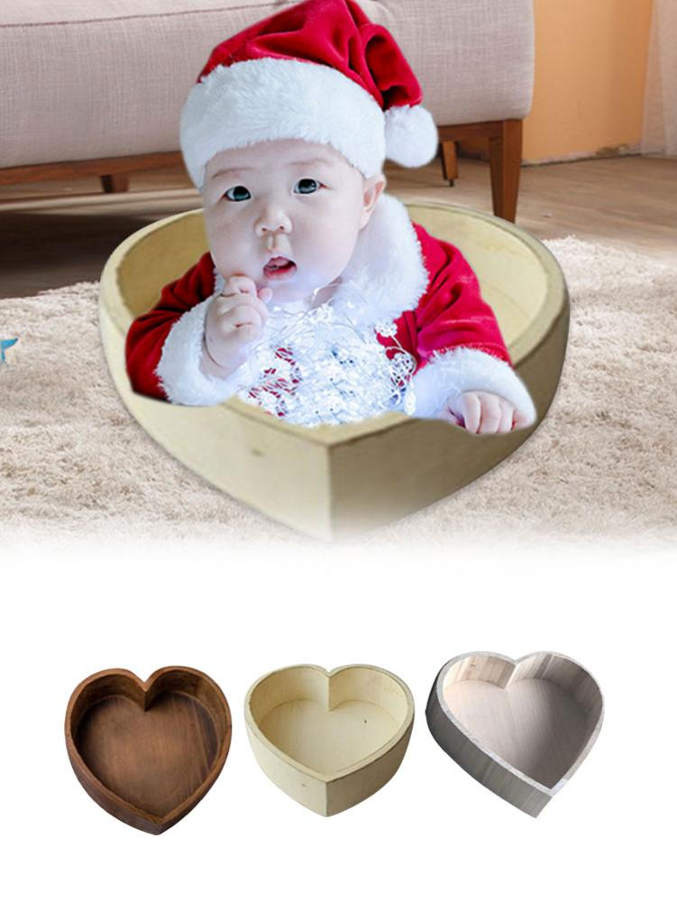 Newborn Baby Photography Love Shape Bed Props Small Wooden Baby Photography Love Bed Tub Photo Props Crib For Baby Boys Girls
