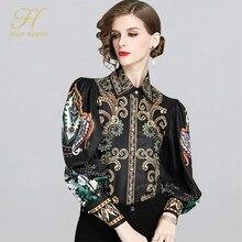H han rainha nova chegada impressão camisa feminina blusa trabalho vintage casual tops chiffon blusa de manga comprida solta camisas de negócios