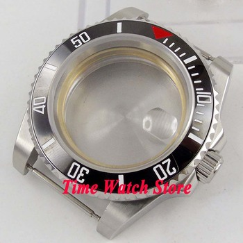 40mm Sapphire glass black ceramic bezel date magnifier stainless steel watch case fit ETA 2836 Miyota 8215 DG 3804 movement C143