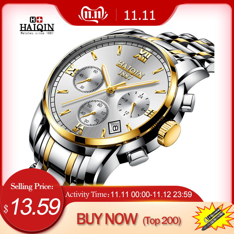 HAIQIN Men's Watches New Military Luxury Brand Watch Men Quartz Stainless Steel Watch Male Fashion Chronograph Relogio Masculino