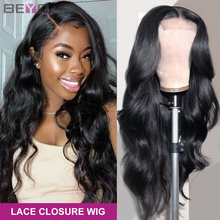 Lace Closure Wigs Human-Hair Body-Wave Beyo 250%Density Peruvian Black Women for 4x4