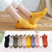 Conjunto de 5 pares de calcetines de estilo Harajuku y Kawaii para mujer, Set de 5 pares de calcetines de estilo náutico, con diseño de oso, de algodón, con diseño de Animal feliz