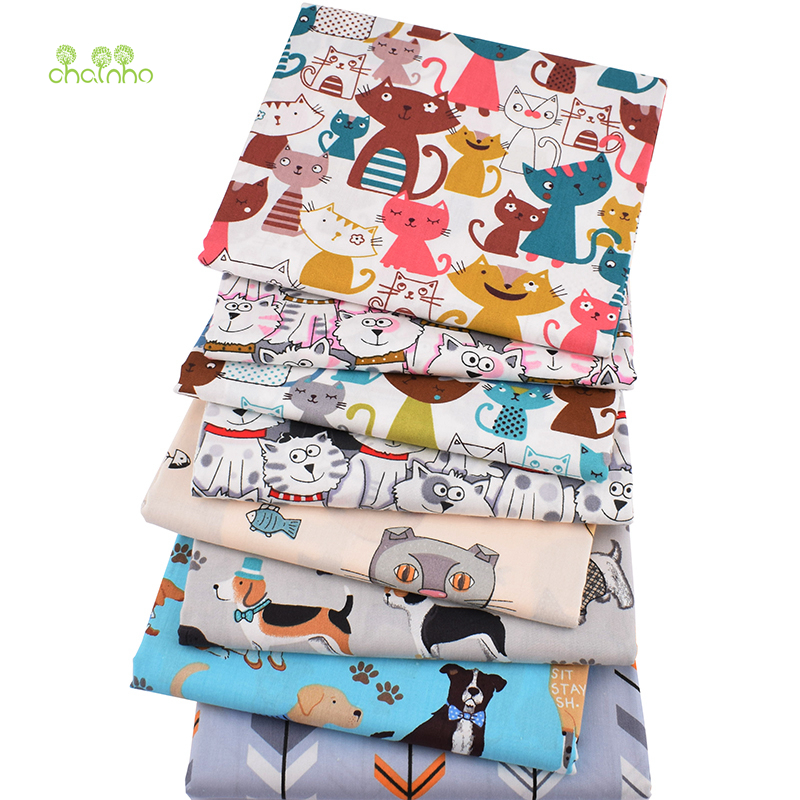 Chainho,8pcs/lot,Cartoon Animal Series,Printed Twill Cotton Fabric,Patchwork Cloth,DIY Sewing Quilting Material ForBaby&Children(China)