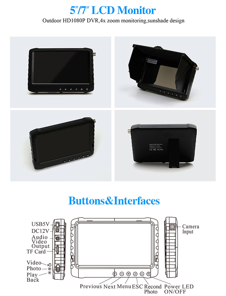 Hb57eeab08d884087ba3ceefb4ae8d1e4F - Outdoor 5/ 7 inch AHD DVR monitor recorder (HD TVI/CVI/AHD/CVBS analog 4 in 1) 4 times zoom function